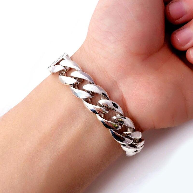 ZABRA Real 925 Silver Mans Armband 12mm Bred Slät Blomst Safe Lås - Märkessmycken - Foto 5