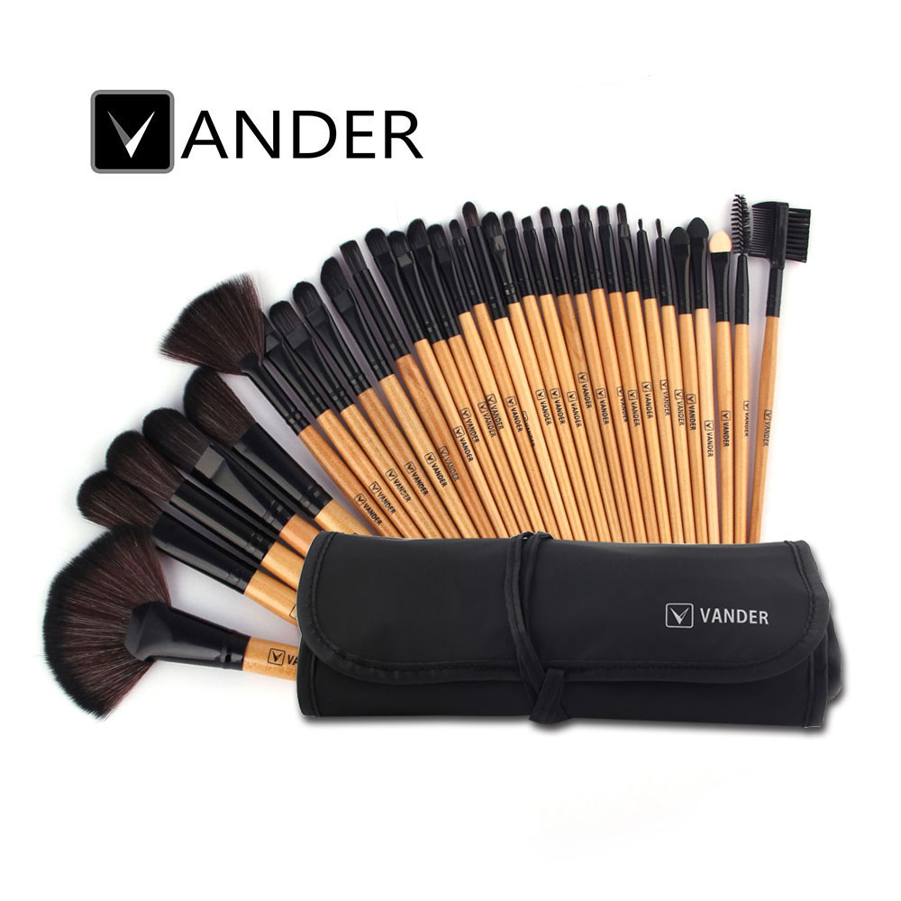 VANDER Brown 32pcs Makeup Brush Set Professional Cosmetic Kits Brushes Foundation Powder Blush Eyeliner pincel maquiagem w/ Bag vander 5 32pcs makeup brush set