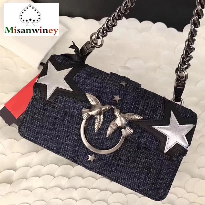 Luxury Brand Women Handbags Swallow Designer Metal Lock Bag Denim Leather Flap Clutch Star Design Chain Shoulder Messenger Bags lole платье lsw2323 marina dress s midnight digi fleur