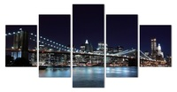 5 Piece Wall Art New York City Night Landscape Prints Canvas Painting Modern Living Room Decor