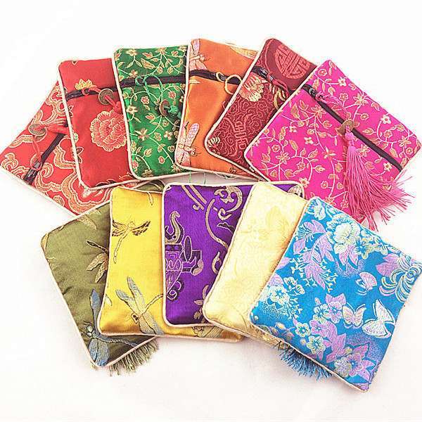 Small Zipper Coin Pouch Chinese Silk Jewelry Bracelet Pouch Gift Bag Tassel Travel Women Mini Bag 5pcs/lot