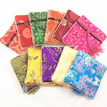 Vintage Small Square Zipper Tassel Jewelry Gift Bag Travel Storage Women Coin Purse Chinese Silk Fabric brocade Packaging Pouch