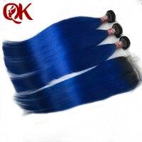 QueenKing Hair Ombre Bundles With Closure 1B/ Blue Two Tone Human Hair Brazilian Straight Hair 3 Bundles With Closure
