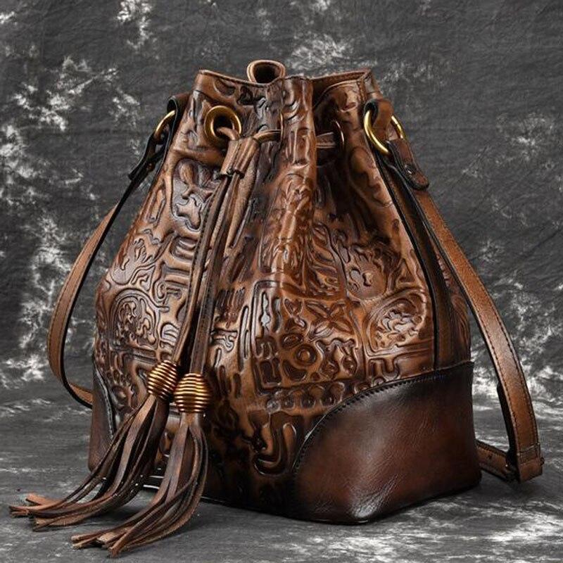 الرجعية جلد حقيقي السيدات عبر الجسم حقيبة للنساء عارضة الأزياء الكلاسيكية اليد حقيبة ساع الجلود حقيبة أنيقة-في حقائب الكتف من حقائب وأمتعة على  مجموعة 2