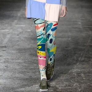 Image 1 - Europa modny tatuaż kolorowe rajstopy damskie drukowane wyroby pończosznicze