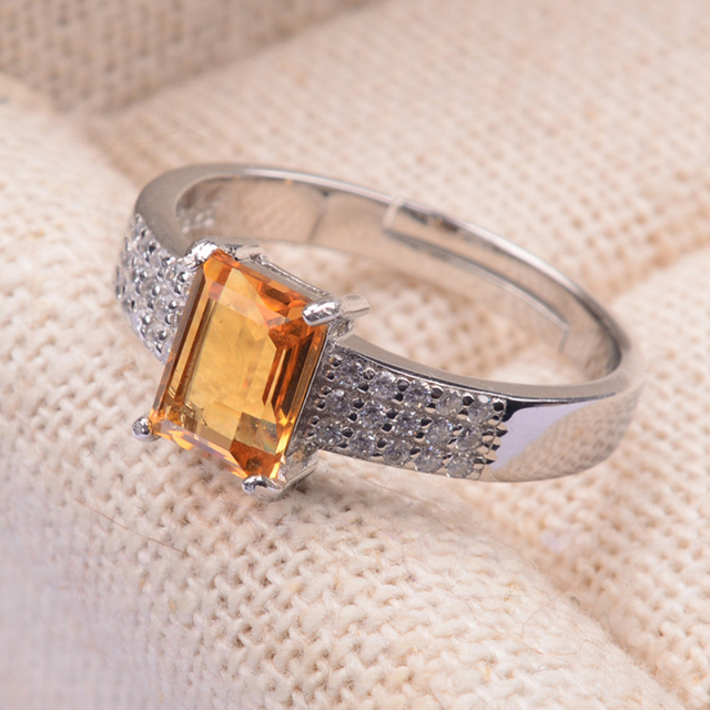 2016 new trendy silver rings for women  925 Solid Sterling Silver natural topaz crystal jewelry Vintage citrine ring best gift