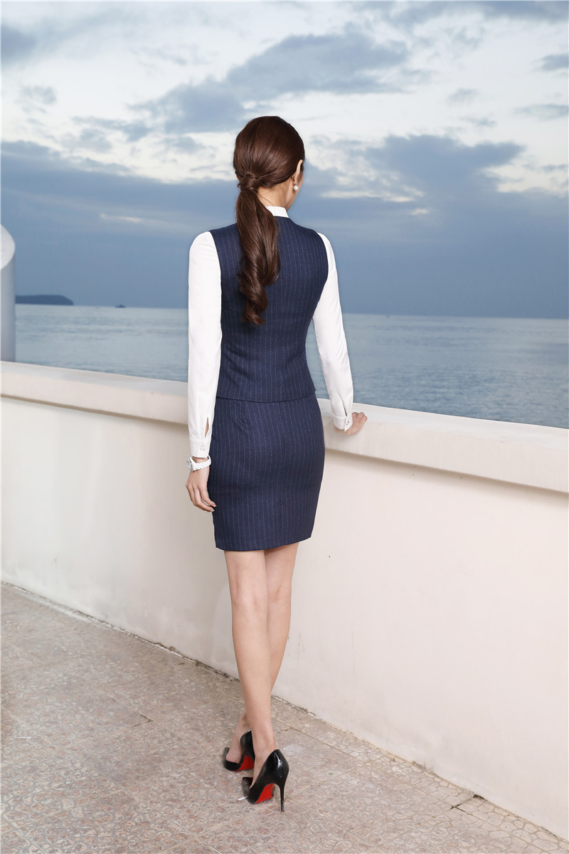 Veste Rayé black Jupe Blue Costumes Conceptions Blouses Définit Cravate Et Dark D'affaires Manteau De Avec Uniforme Gilet Striped Blazers Dames Striped Mode tqPwAqRxz