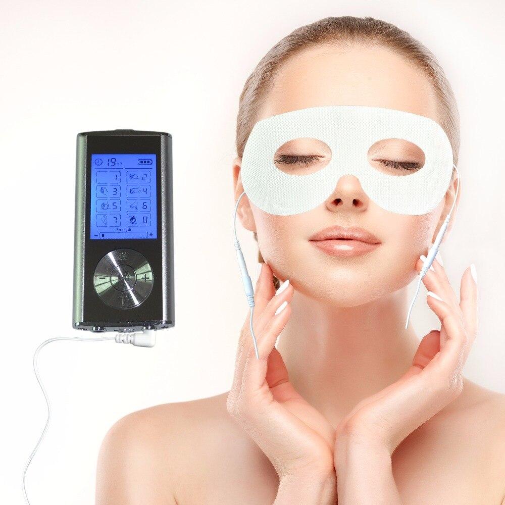 Double-Canal 8 Mode Électricité Corps Masseur Minceur DIZAINES Acupuncture Machine + 1 pc Masque Pour Les Yeux Conducteur Électrode Pad