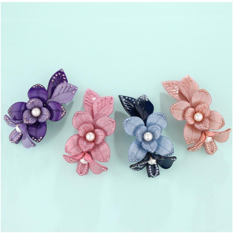 New Flower Rhinestone Pearl Cellulose Acetate Wedding Bridal Hair Accessory Jewelry Barrette Ornament Tirara Pin Clip for Women