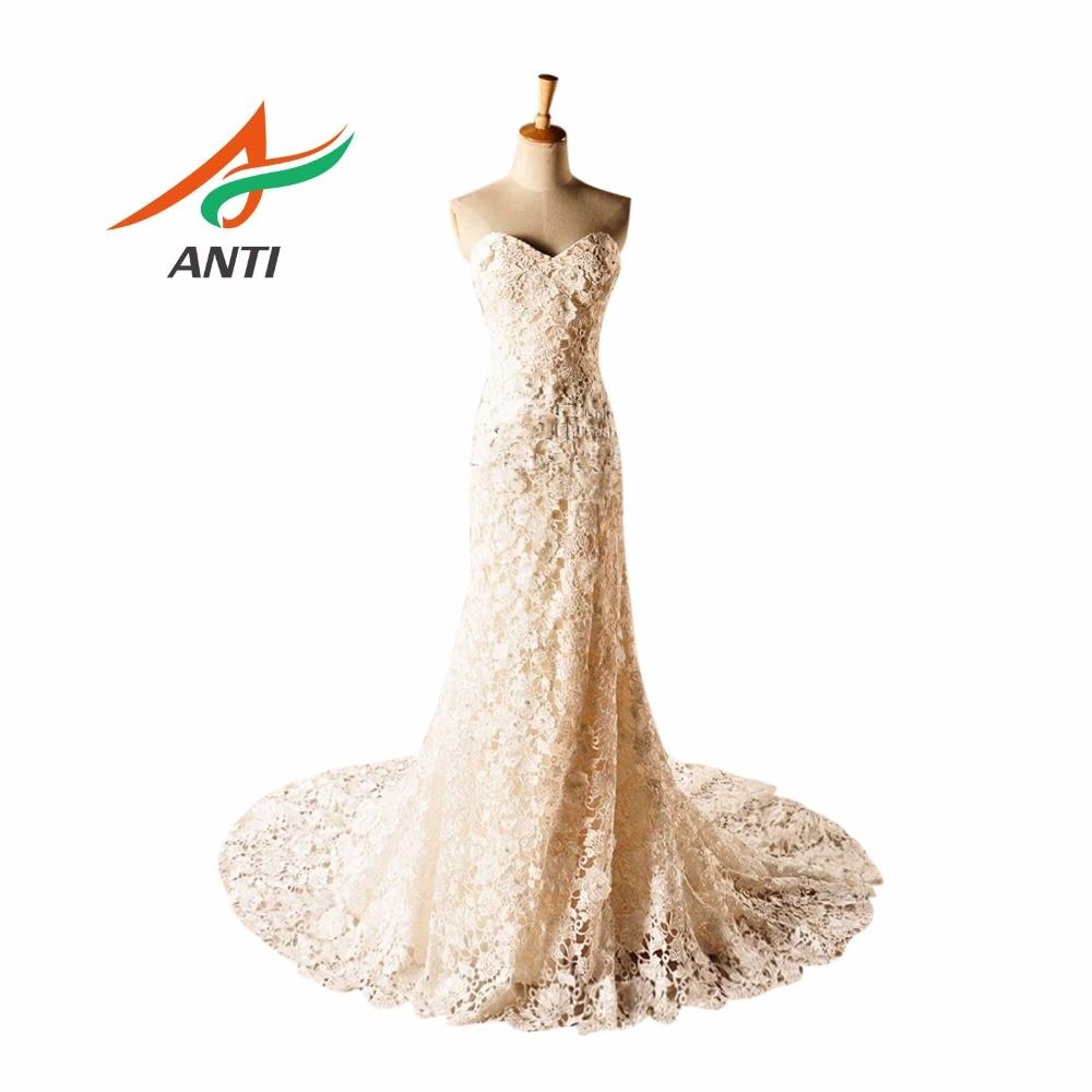 ANTI Imágenes Reales Nueva Llegada Sirena / Trompeta Vestidos de Novia Vestido De Noiva Lace Sweep Train Plus Size Vestidos de Novia 2018