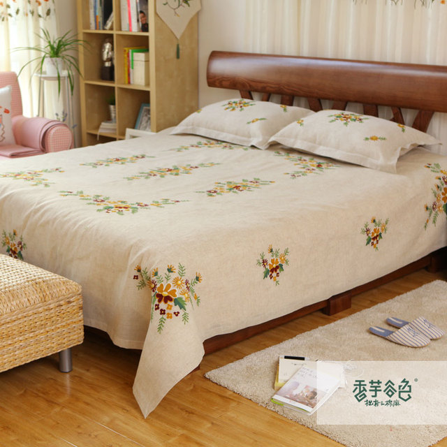 Lu Embroidery Rustic Hemp Bedding Three Piece Set Twinset Handmade  Embroidery Bed Sheets Laguan Bedspread Bed