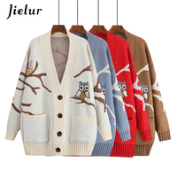 Jielur 2019 Funny Owl Cartoon Cardigan Women Chic Pockets Single breasted Winter Sweaters Female Elegant Long Knitted Cardigans