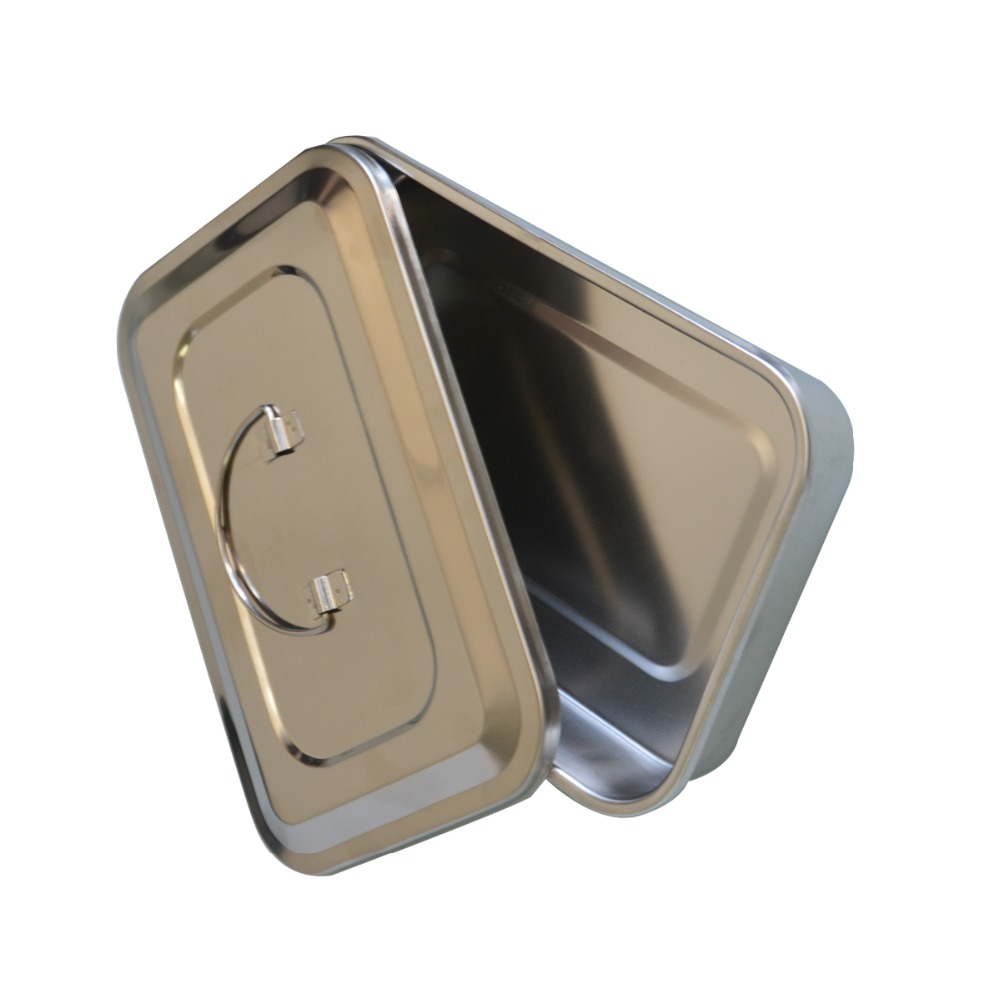1Pc Stainless steel ware disinfection tray cassette cover plates 9 inch surgical dental box medical health care supplies 1