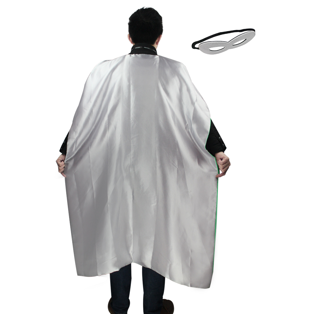 140*90cm adult long silver cape costume+2 adult felt masks for dress up cosplay halloween costume lantern superhero cape