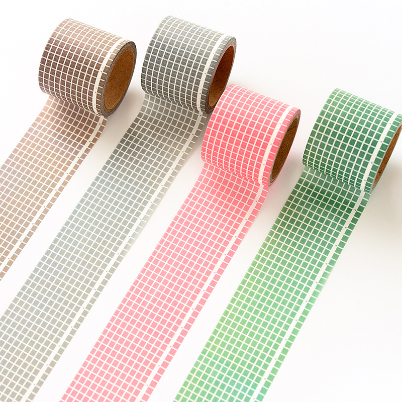 35mm Writable Paper Washi Tape Solid Color Grid Planner Journal DIY Craft Masking Tapes Home Decoration Accessories Wall Sticker image