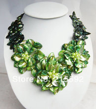 New Fashion Green Flower Necklace With Mother of Pearl Shell Romantic Wedding Jewelry Wholesale Free Shipping SP011