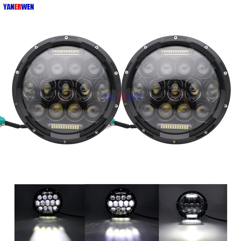 75W 7 inch Round LED Headlight Bulb for Jeep Wrangler JK Hummer H1 H2 Lada 4x4 urban Niva Headlamp Driving Lights with DRL