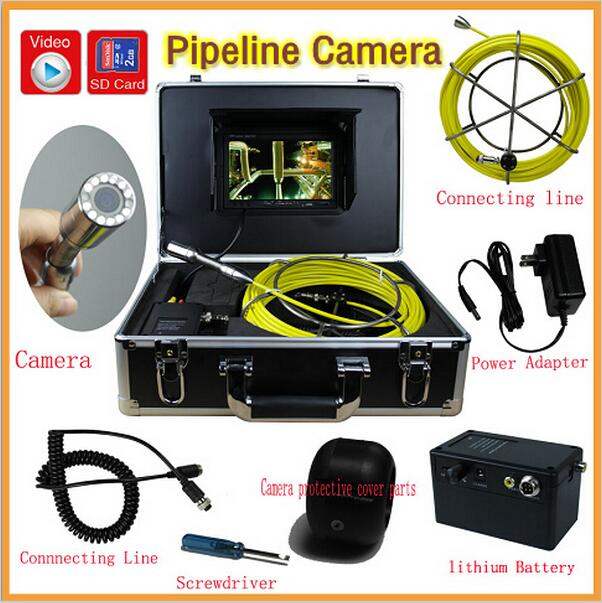 portable 30m Cable 7'' TFT LCD Sewer Pipeline Endoscope Inspection Snake Camera Stainless Steel Lens Waterproof 20m cable fiber glass 7 tft lcd waterproof pipe sewer inspection camera ccd600tvl with meter accounter endoscope snake camera