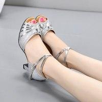 New Ladies Ballroom Wedding Party Latin Dance Shoes Open Toe Tango Salsa Rumba Dancing Shoes Heeled