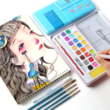 Buy 18/24Colors Full Solid Watercolor Paint Set For Students Beginner Hand-painted Powder Painting Blue/Pink Art Supplies directly from merchant!