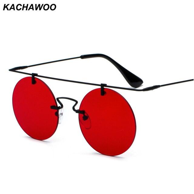 b157e8692dc Kachawoo rimless sunglasses for women flat top metal yellow red lens vintage  round sun glasses men gold retro unisex