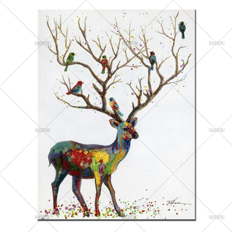Best Newest Home Decor Beautiful Colorful Deer Wall Picture Handmade Canvas Oil Painting For Living Room