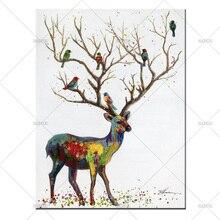 Best новые Домашний Декор красивые красочные олень стены картина ручной холст картина маслом для Гостиная как Новогодние товары IFT