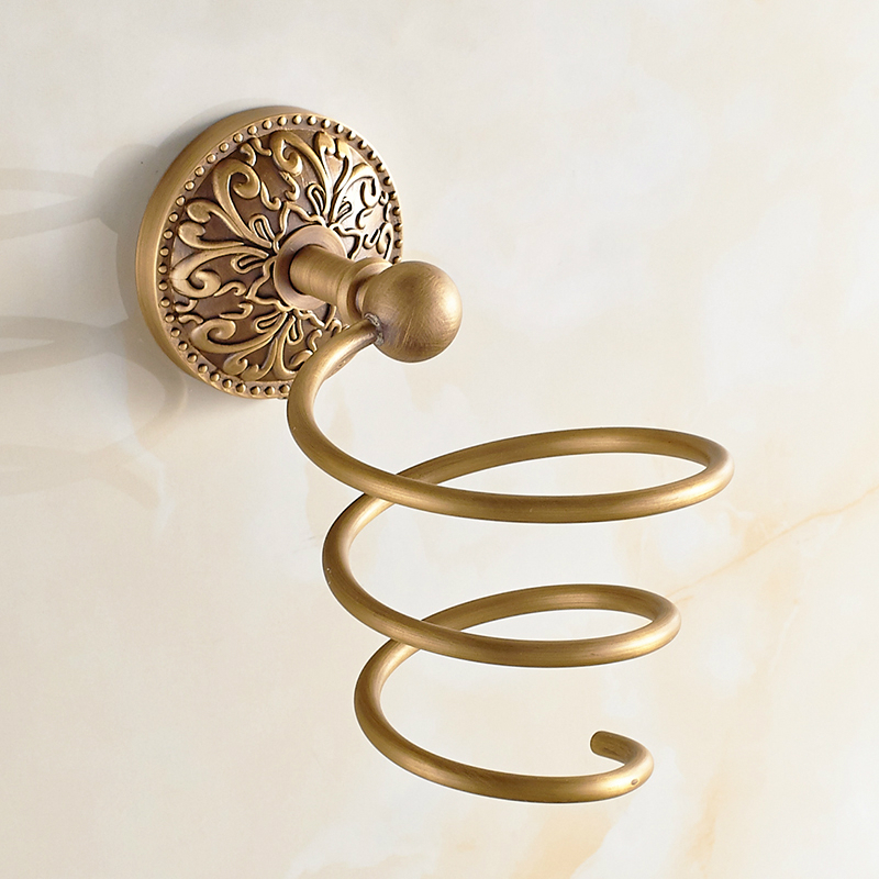 Antique Brushed Bronze Hair Dryer Rack bathroom shelf European Copper Wall Storage Rack Wall Mounted Bathroom Accessories g-4 the ivory white european super suction wall mounted gate unique smoke door
