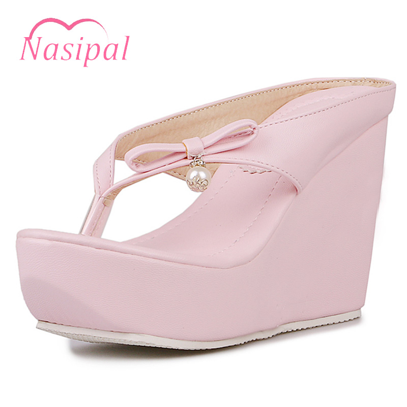 Nasipal Summer Sandals High Heels Women Flip Flops Fashion Slip On Beach Shoes Woman Platform Shoes Flat Wedges Slippers C306