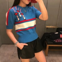 Summer Lip Embroidery Blue Patchwork Knitted Shirts Women 2018 Runway Short Sleeve Beading Tunic Crop T Shirt Sweet Tee Tops