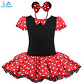 2016 Kids Gift Minnie Mouse Party Fancy Costume Cosplay Girls Ballet Tutu Dress+Ear Headband Girls Polka Dot Dress Clothes Bow
