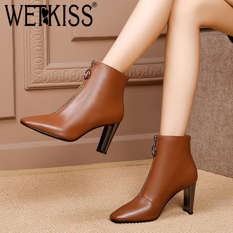 WETKISS Genuine Leather Women Ankle Boots Square Toe Footwear Thick High Heels Booties Zip Office Female Shoes 2018 Winter NewWETKISS Genuine Leather Women Ankle Boots Square Toe Footwear Thick High Heels Booties Zip Office Female Shoes 2018 Winter New