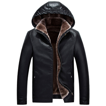 Brieuces new Winter Leather Jacket Men Top Quality Faux Fur Coats New Thick Casual Male Hooded Jackets