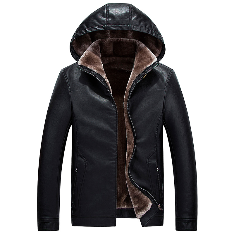Brieuces new Winter Leather Jacket Men Top Quality Faux Fur Coats New Thick Casual Male Hooded Leather Jackets