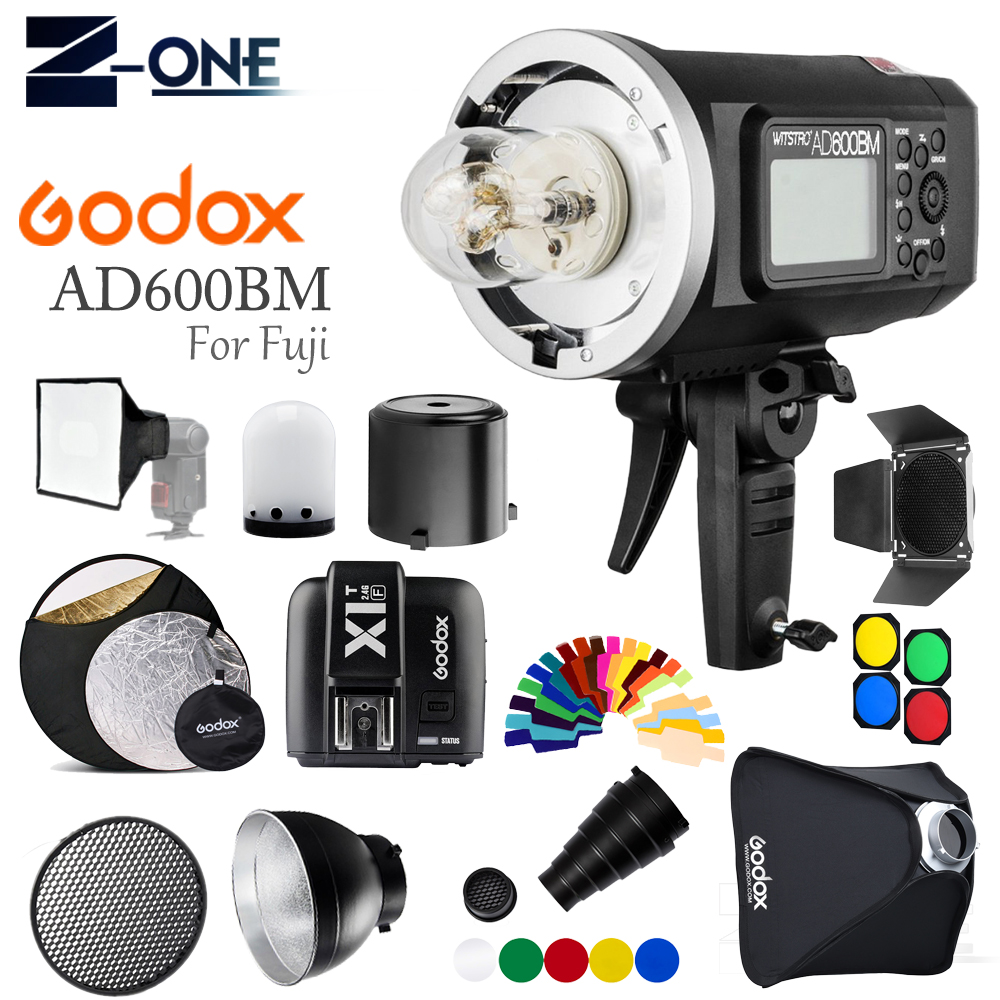 <font><b>Godox</b></font> <font><b>AD600BM</b></font> Bowen mount GN87 2.4G Outdoor Flash Strobe Monolight W/X1T-F Flash wireless Trigger+softbox +Snoot for Fujifilm image