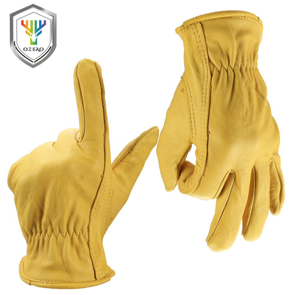 Goat leather work gloves - Ozero Men S Work Gloves Goat Leather Security Protection Safety Cutting Working Garden Gloves Racing For Men