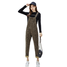2019 Spring Autumn Maternity Pants Trousers for Pregnant Women Leopard Print Suspenders Pregnancy Jeans XXL