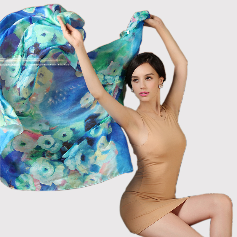 100% Silk Long Scarf Shawl Printed Hot Sale Women Pure Silk Scarves Wraps Female Plus Size Spring Autumn Silk Cape 180*110cm