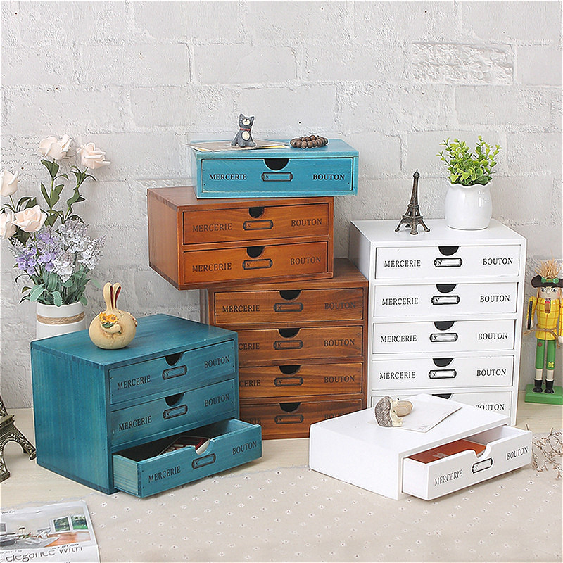 Wood Vintage Treasure Chest Storage Box Drawer Type Makewp Jewellery Storage Box Case Organizer Office Finishing Storage Cabinet