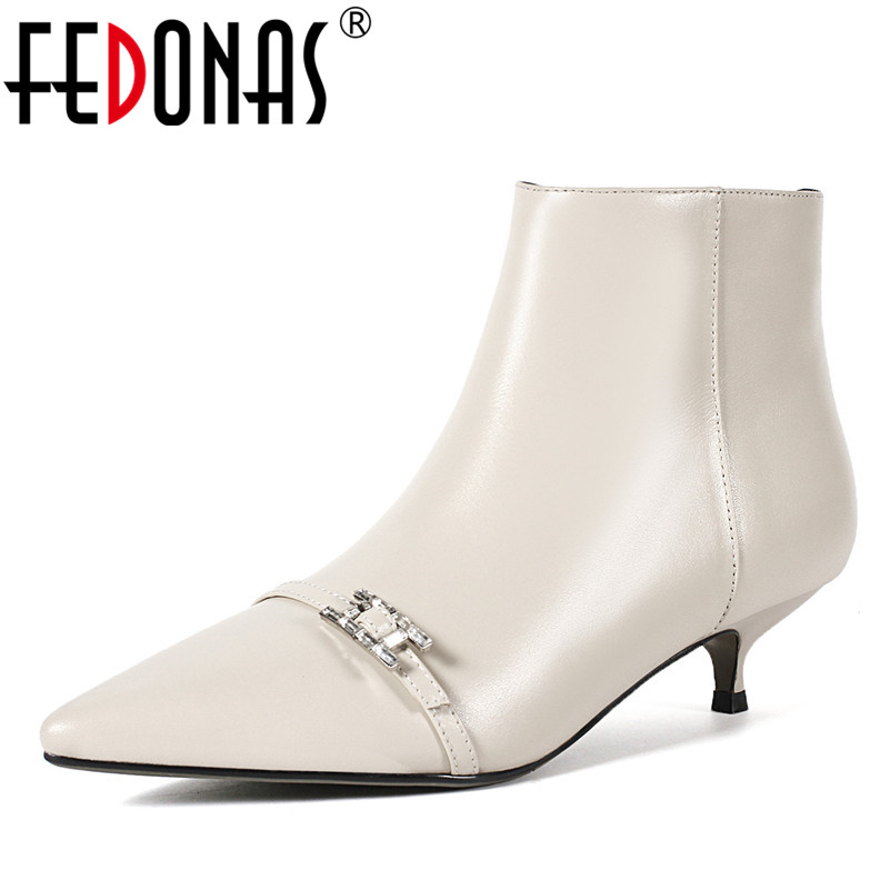 FEDONAS Genuine Leather Autumn Winter Shoes For Women High Heeled Pointed Toe Office Pumps Sexy Wedding Party Prom Pumps New fedonas sexy pointed toe women genuine leather pumps close toe summer shoes mules high heeled sandals sexy women slippers
