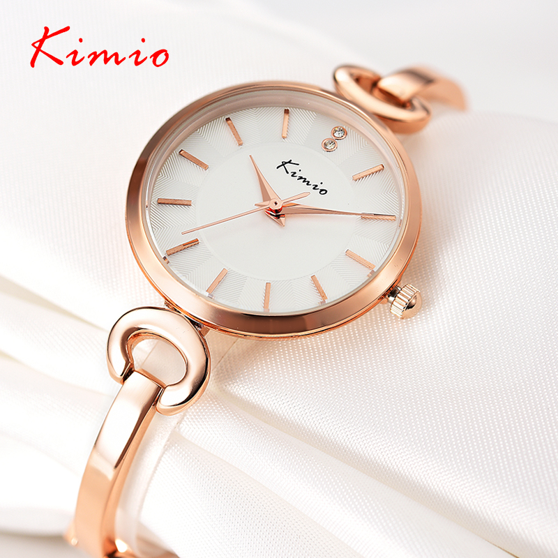 Original KIMIO Bracelet Watches for Lady Fashion Dress Gold Charming Chain Style