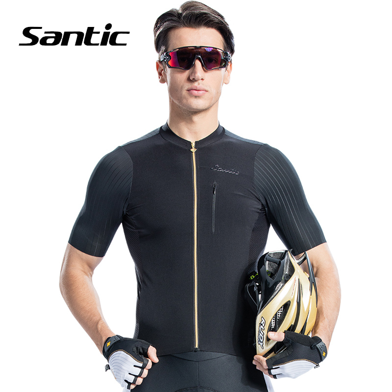 Santic 2018 Pro Racing Team Cycling Jersey Men Short Sleeve Road MTB Bike Shirt Quick Dry Bicycle Jersey Black Maillot Ciclismo