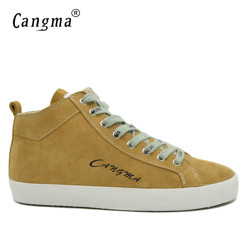 CANGMA Famous Brand Cow Suede Shoes Men Sneakers Breathable Yellow Casual Shoes Mid Male Genuine Leather Man's Newest Footwear cangma original newest woman s shoes mid fashion autumn brown genuine leather sneakers women deluxe casual shoes lady flats