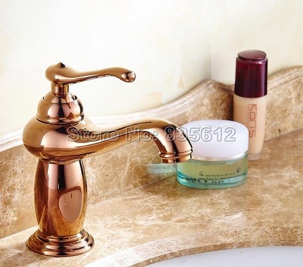 NEW Rose Golden Bras Finish Single Handle Bathroom Basin Faucet Vessel Sink Mixer Tap Wgf035 ydl f 0575 centerset single handle rose gold finish brass bathroom sink faucet golden