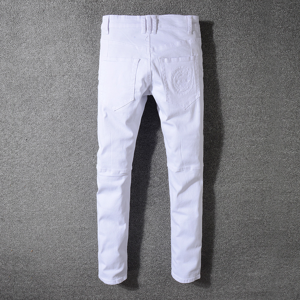 cfe80b9633c Sokotoo Men s slim fit straight white biker jeans for motorcycle Plus size  classic pleated denim pants-in Jeans from Men s Clothing on Aliexpress.com  ...