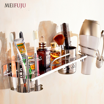 MEIFUJU SUS304 Bathroom Stainless Steel Shelf Wall Mounted Bathroom Shelves with Toothbrush Holder Hair Dryer Rack 2017 New bathroom shelves hair dryer holder rack antique brass hair drier storage spring hair blower shelf wall mounted zd933