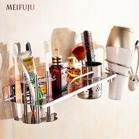 MEIFUJU SUS304 Bathroom Stainless Steel Shelf Wall Mounted Bathroom Shelves with Toothbrush Holder Hair Dryer Rack 2017 New