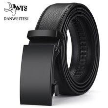 Мужской ремень с пряжкой автомат [DWTS], черный пояс из натуральной кожи, аксессуар для мужчин