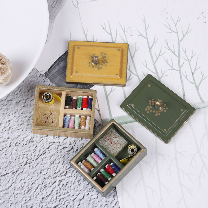 Best Sale 1:12 Miniature Vintage Sewing Box With Lid Winered Dollhouse Decoration Accessories