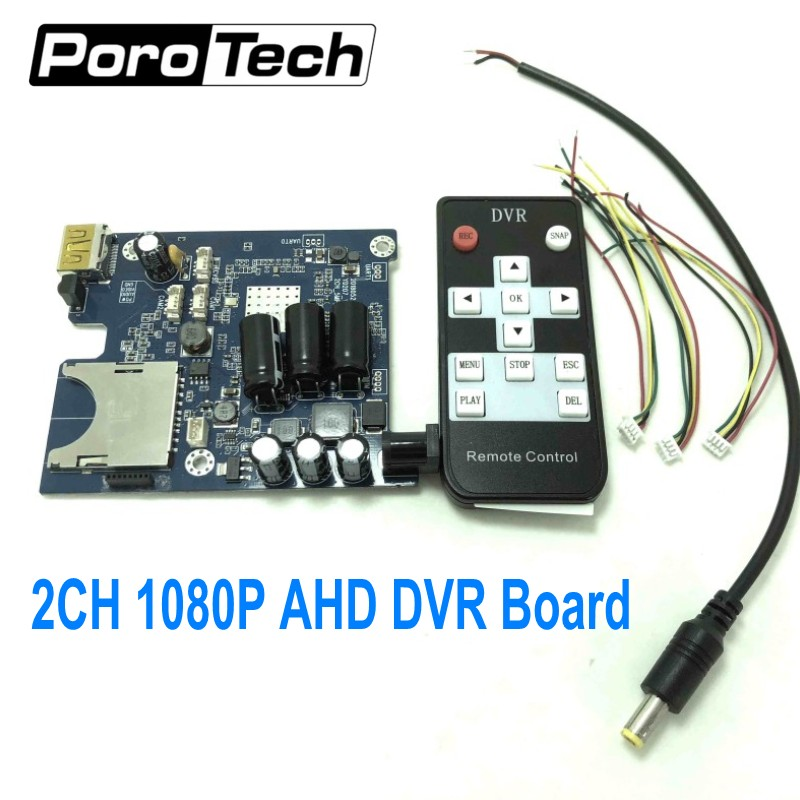 Free DHL 2CH AHD Mobile DVR PCB Board support CVBS/AHD 5.0MP/128GB HD 1080P 2 Channel vehicle bus DVR Board with remote control